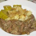 Inima de porc si cartofi natur