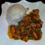 Scoici (midii) cu legume si sos iute