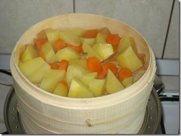 Morcovul si cartofii fierti la abur