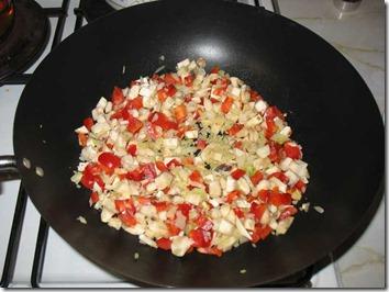 Ceapa, ardeiul gras si coditele de la ciuperci