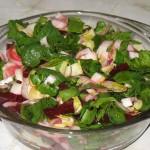 Salata de andive, sfecla rosie si spanac